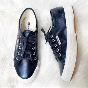 Superga Metallic Navy Blue Coated Canvas Sneakers